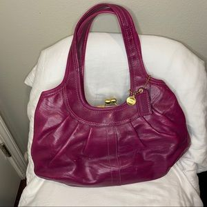 Coach Pink Leather Hand Bag